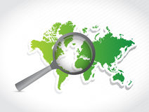 World map under investigation. illustration Royalty Free Stock Images