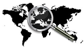 World map under magnifying glass Stock Photos