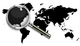 World map under magnifying glass. Vector illustration background Royalty Free Stock Image