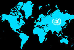 World map with united nations sign Stock Photography