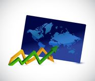 World map up and down business arrow chart. Illustration design graphic Stock Images