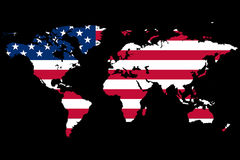 World Map US Theme. The World Map in a USA theme Stock Photo