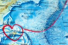 World Map Valentine caribean sea Royalty Free Stock Image