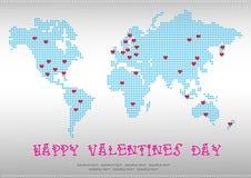 World map valentine illustration Royalty Free Stock Image