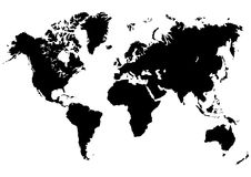 WORLD MAP IN VECTOR. Map of the world - world vector illustration Royalty Free Stock Images