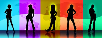 World Map Vector. Vector Image of 5 fashion model silhouettes against colored portals depicting a world map stock illustration