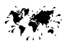World map vector blot spray droplets as ink Stock Photos
