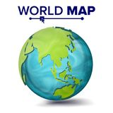 World Map Vector. 3d Planet Sphere. Earth With Continents. Asia, Australia, Oceania, Africa. Isolated Illustration. World Map Vector. 3d Planet Sphere. Earth Royalty Free Stock Image