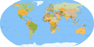 World map - vector - detail Royalty Free Stock Images