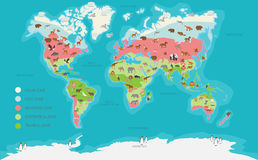 World map vector illustration. World Map climate zone and animal highly detailed vector illustration royalty free illustration