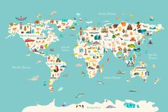Free World Map Vector Illustration. Landmarks, Sight And Animals Hand Draw Icon Royalty Free Stock Photography - 152893857