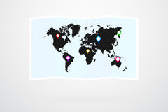 World Map Vector And Map Pins Stock Images
