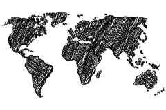 World Map - vector scribble Royalty Free Stock Images