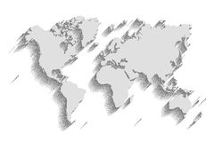World map vector. color background with shadow royalty free illustration