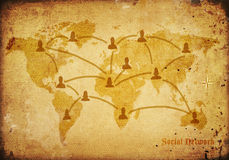 World map on very old canvas. With social network concept Stock Photography