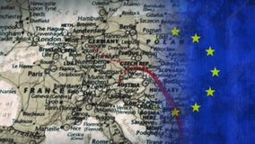 World map Video. Red dots on the world map with compass against animated EU flag background stock footage