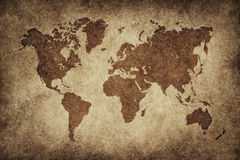 World map in vintage background Royalty Free Stock Photography