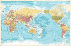 World Map Vintage Color Pacific Centred stock illustration