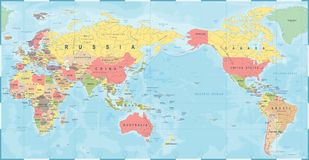 World Map Vintage Old Retro - Asia in Center.  Stock Images