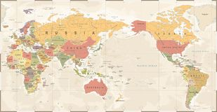 World Map Vintage Old Retro - Asia in Center.  Royalty Free Stock Image