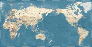 World Map Vintage Old Retro - Asia in Center.  Royalty Free Stock Photo