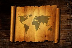 World map on vintage paper Stock Images