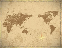 World map in vintage pattern paper Stock Photography