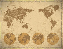 World map in vintage pattern paper,  illustration Stock Photography