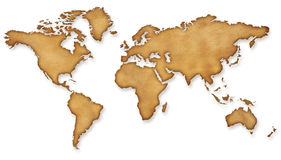 World Map Vintage sepia Illustration. On white Royalty Free Stock Photography