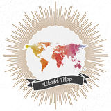 World map with vintage style star burst, colorful Royalty Free Stock Photography
