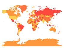 World map in warm colors. High detail blank political map. Vector illustration Royalty Free Stock Image