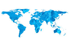 World map and water. Isolated flat world map and water. NASA flat world map image used to furnish this image royalty free stock photo