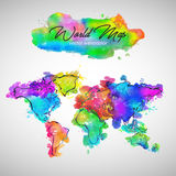 World Map Watercolor Paint Vector. Art Royalty Free Stock Images