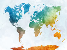 World map in watercolor. Painting abstract splatters Royalty Free Stock Images
