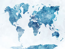 World map in watercolor. Painting abstract splatters Stock Images