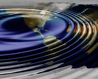 World map waves. World map waving , water ripples on the surface Stock Images