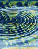 World map waves. World map waving water concept Stock Photo
