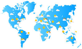 World Map Weather Forecast Royalty Free Stock Image