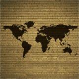 World map web icon, flat design royalty free illustration