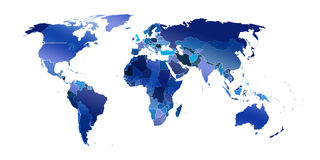World map  in white  background Stock Image