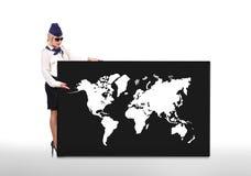 World map on white background. Stewardess holding blackboard with world map on white background Royalty Free Stock Images