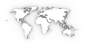 World map white 3D. World map in white and 3D. Large and detailled Stock Photo