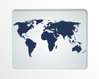World map in white frame Stock Photos