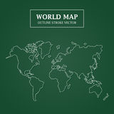 World Map White Outline Stroke on Green Background Stock Photos