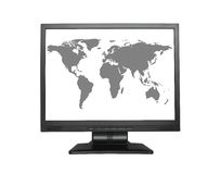 World map in wide LCD screen Royalty Free Stock Images