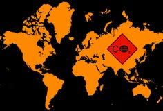 World map withglobal warming logo Royalty Free Stock Image