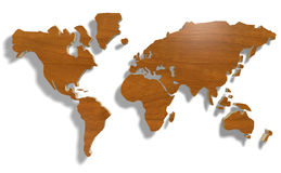 World map with wood. Texture 3d illustration Royalty Free Stock Photo