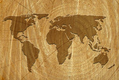 World map on wood surface Royalty Free Stock Images