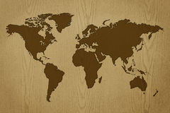 World map on wood texture Royalty Free Stock Images