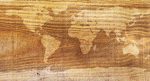 World map wood texture Stock Images